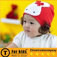 Wholesale Rabbit Children s Crochet Hat Bowknot Cartoon Rabbit Children s Wig hat Baby Hats Female Baby Hat In Winter