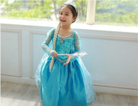 Girl Fairy Tales  2014 new children & kid's girl Cosplay Costumes Performing clothing with crown Wig set frozen Elsa princess dress Fancy Dress free shipping