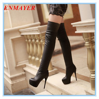Knight Boots leather over knee boots - ENMAYER big size34 super high heeled over the knee boots for women thin heels pu leather ladies long boots sexy winter shoes