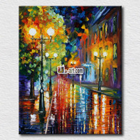 One Panel Oil Painting Fashion Palette knife oil painting of night street scenery canvas prints picture wall arts for modern home decoration