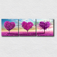 Wholesale 3 panels wall painting printed on canvas heart trees beautiful canvas prints for modern home decoration