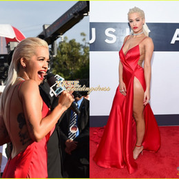 Hot Selling Red Carpet Rita Ora MTV VMAS Sexy V-neck Sheath Sexy Side Split Evening Gowns Celebrity Dresses