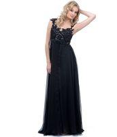 Cheap Black Long Prom Dress Beaded Lace Tulle Cap Sleeve Applique Scoop Floor Length Back Zipper Elegant Prom Dresses 2015 UK