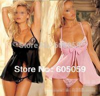 Wholesale plus size double flower side lace bra open front braces skirt baby dolls women sexy EROTIC lingerie nightdress G string UL382