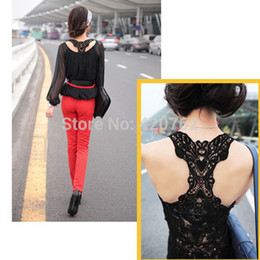 2014 New Summer Fashion Women Lace Back Crochet Camisole Cami Hollow-out Vest Tank Top T-shirt Size S-L