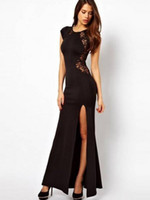 Reference Images Crew Elastic Satin Cheap Black Lace Capped Sleeves Long Sheath Evening Dresses Crew Neck Backless Floor Length Custom Made New Arrival Sexy Party Prom Gowns