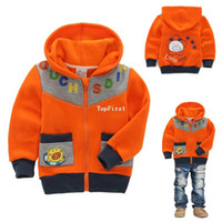 Wholesale Spring and autumn children s clothing male child fleece sweatshirt winter outerwear with a hood sweatshirt zipper up rib