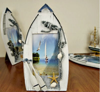 Wholesale Free shiiping Sailing boat photo frame solid wood frame beach photo frame crafts Gift photo frames wedding gifts