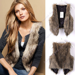 Wholesale 2014 new fashion women Low Price Faux Fur Vest Gilet Waistcoat Hot Brown SV005512