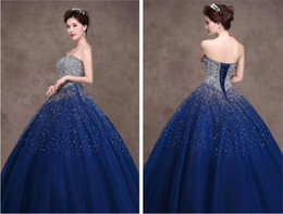 Wholesale Blue Royal Gown Ball Gown Strapless Rhinestone Beaded Lace Up Quinceanera Dresses Long Prom Dress Evening Dress Hot Series Luxury Dress YDD