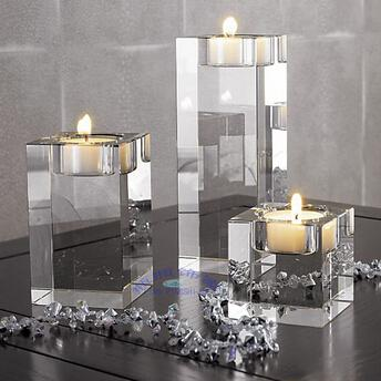Home Decoration Crystal Glass Candle Holder Square Solid Crystal Mousse Decoration Accessories Transparent Crystal Candle Stand Set Of 3