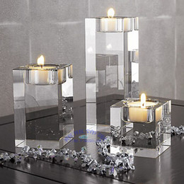 Wholesale home decoration Crystal glass candle holder square solid crystal mousse decoration accessories transparent crystal candle stand set of