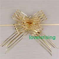 Wholesale 50pcs cm Large Size Gold Color Organza Pull Bows Pull Flower Ribbons Wedding Shower Favors Supplies