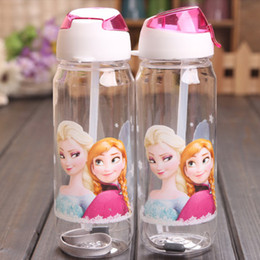 Wholesale Children Cup Cartoon Frozen Elsa Anna PP Texture Suction Cup with drinking straw water bottle hot selling