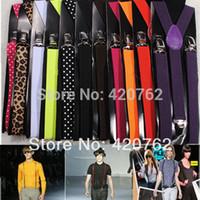 Wholesale Multi Color Adjustable Unisex Men Women Trouser Clip On Braces Suspenders Fancy Dress Cotton Leather Pants Strap