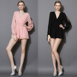 Wholesale TOMTOCE Fashion Women Chiffon Jumpsuits Deep V Neck Split Long Sleeve Hot Rompers PlaysuitsG0649