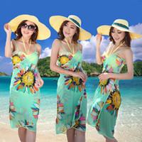 Wholesale Chiffon Casual Summer Swimwear Women Deep V Wrap Dresses Bohemian Sexy Beach Dress SV001144