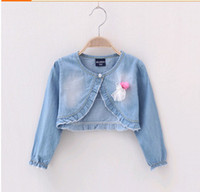Wholesale Jeans Jacket Fashion Princess Coat Children Outwear light Blue Denim Jackets Girls Cute Casual Coat
