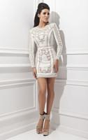 2014 Последние Mesh Homecoming платья Black White Crew с длинным рукавом Мини платья шариков Zipper выполненное на заказ Удивительные Колонка платья 21452