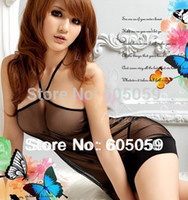 Wholesale Sexy lingerie black sex lady baby dolls nightwear skirt sleepwear chemises G string hot selling new kimono ul092