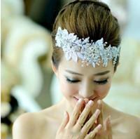 Hair Flowers Rhinestone/Crystal  Vintage White Lace Wedding Tiaras Crystal Bridal Beaded Hair Accessories Pins Pearl Headband Tiara Rhinestone Jewelry Favor