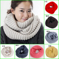 Ring 60cm-80cm Adult High-grade cashmere winter solid color scarf winter knitted collar yarn Candy color Ring Muffler Wool scarf knitted scarves