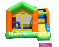 Wholesale 2014 bouncy castle sports equipment Leap the bed jumping bed Inflatable Trampoline with Enclosure Net