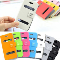 Wholesale High Quality Table Talk Double Window Flip Folio Super Thin Slim PU Leather Wallet Case Cover For iPhone S