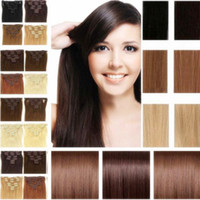 Wholesale Best quality Brazilian remy clip in hair g straight pieces set human hair extensions clip in