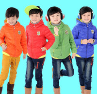 Wholesale 2014 Child Winter Out Wear Children Boys Down Jacket Coat Clothes Kid Zipper Hooded Warm Down Feather Clothes Red Orange Blur Green J1436