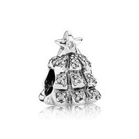 Wholesale Christmas Tree Charm made of solid sterling silver beads with threaded marked S925 ALE fit European bracelets LW325
