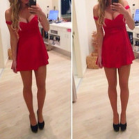 Reference Images Off-the-Shoulder Elastic Satin Elegant 2014 New Prom Dresses Red Off-Shoudler Sleeveless Backless Corset Short Mini Sexy Evening Party Gown