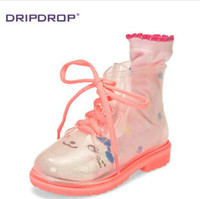 kids rain boots - 4 color size fashion kids Clear Rain Boots girl Color Sole Combat Lace Up baby Jelly Waterproof Transparent boots TOPB150 pair