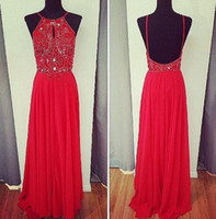 Wholesale Hand Made Spaghetti Straps Sexy Backless Prom Dresses Red Summer Chiffon Sleeveless A Line Chiffon Beading Custom Made China Evening Gowns