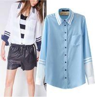 Regular Polyester Striped A1-y146 European American style women blouse fashionable stripe dudalina Mosaic color chiffon Long sleeve shirt Freeshipping