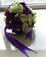 Wholesale Purple Wedding Bouquet Nosegay Lime Green Bouquet Eighteen Flowers Wedding Floral Bridal Bouquets Pink Bridesmaid Bouquets with Ribbon