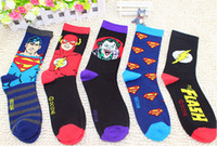 Men Sock Athletic 24pcs=12pair USA NEW superman batman Captain America flash Film Fans Plantlife Skateboarding Sport long Socks 24pcs lot