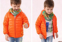 Wholesale 2014 Child Winter Out Wear Clothing Children Boys Down Jacket Coat Clothes Kid Zipper Hooded Warm Down Feather Orange Blue Black J1437