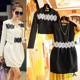 Wholesale 2 Fashion Autumn Outfits Vintage Style Women And Big Girl s Dress Set Cardigan Coat Vest Dress Lace Splicing Embossed Dress