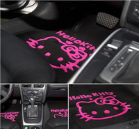 Full Set auto carpet - hello kitty Auto Car Plush Skidproof Floor Mat Foot Pad Carpet White pale pink rose pink Optional