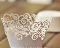 Wholesale Laser Die Cut Cupcake Wrappers Wedding Party Birthday Event Supplies Cake Decoration Cupcake Decor Boxes