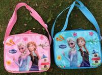 Wholesale Frozen Kids Cartoon Lunch Box Set Pvc Cartoon Lunch bag Frozen lunch bag