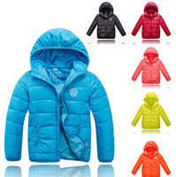Wholesale 2014 Child Winter Out Wear Clothing Children Boys Down Jacket Coat Clothes Kid Zipper Hooded Warm Down Feather Overcoats Pure Color J1439