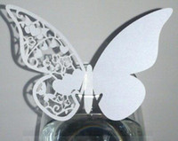 Wedding Table Decoration wedding place card holders - 120pcs Modern Design Butterfly Laser Cut Place Card number holder Wine Glass Card Wedding party table Decoration wd135