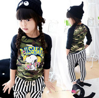 Girl Spring / Autumn Standard girl T-shirt Children Spring & autumn style clothes Camouflage dog Long sleeve T-shirts girl clothes