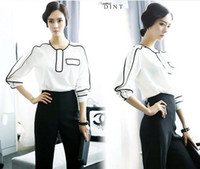 Wholesale Fashion New Lady Elegant Black White Contrast Suit Shirt Pants Celebrity Party Bodycon Apparel chiffon S M L