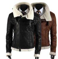 Men men fur coat - 2014 new arrive Faux Fur Lining men s leather jacket Oblique zipper Fur Coats Winter mens coats Warm Coat black