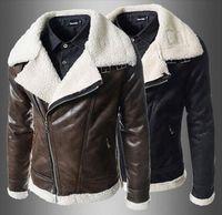 Wholesale Short Leather Lined Black Coat - 2014 new arrive Lamb Fur Lining men's leather jacket Oblique zipper Large lapel Fur Coats Winter mens coats Warm Coat brown 1366