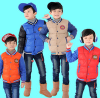 Wholesale Boy s Overcoats Child Winter Out Wear Clothing Children Boy Down Jacket Coat Clothes Kid Zipper Hooded Warm Down Feather Pure Color J1440