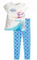Unisex Spring / Autumn O-Neck Retail New 2014 frozen baby girls clothing sets children kids boys summer pajamas child Anna Elsa princess clothes